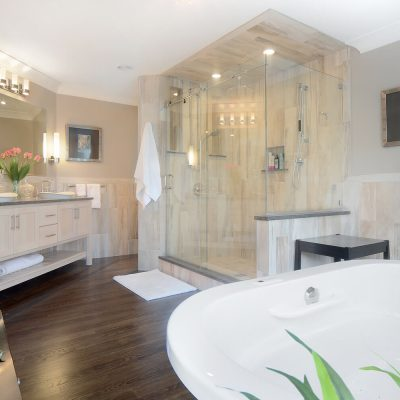 Spacious bathroom redesign in NY's Capital Region by Guidarelli Building and Design