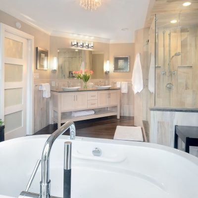 Soaking tub with center spigot, Capital Region bathroom renovation