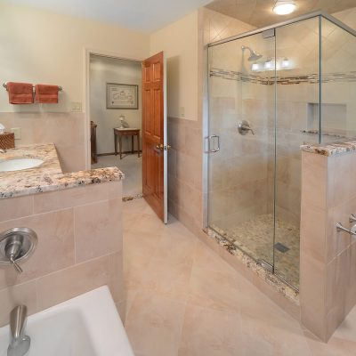 Natural colors in bathroom remodel by Guidarelli Building and Design, NY Capital Region