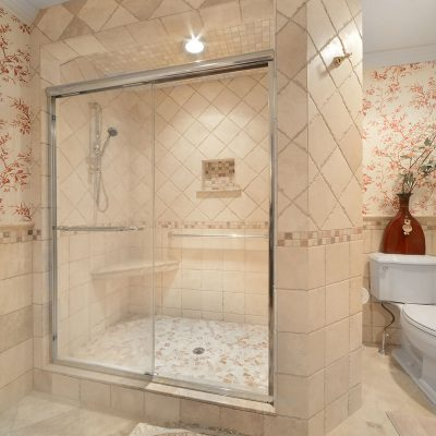Glassed in shower in NY Capital Region Bathroom Remodel