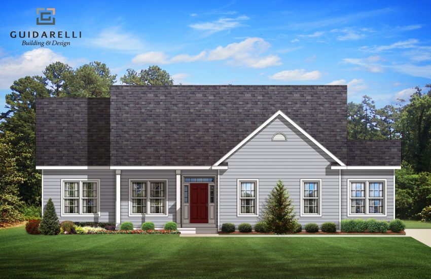 Artists rendering of New ranch home construction in Town of Colonie & North Colonie Schools, Guidarelli Builders